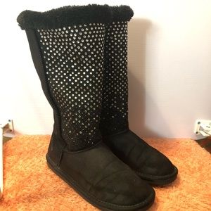Justice Girl's Rhinestone Winter Boots Black Sz 5